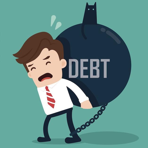 Homme d'affaires porter une balle géante avec une dette de titre. Vecteur Premium