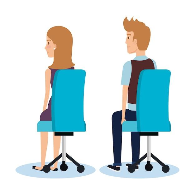 Homme d'affaires posant sur la conception de bureau chaise illustration vectorielle Vecteur Premium
