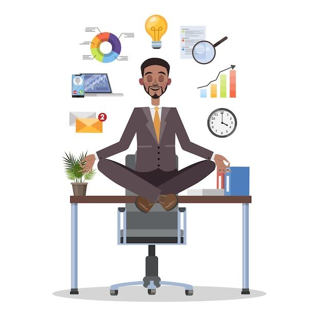 Homme D'affaires En Posture De Lotus Ayant Une Pause Au Travail Vecteur Premium