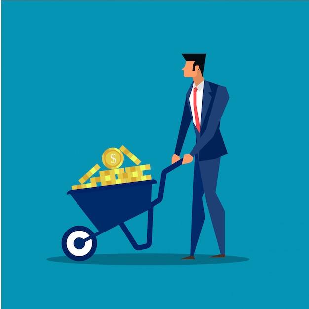 Homme d'affaires en poussant la brouette dans le concept commercial de profit. Vecteur Premium
