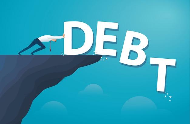 Homme d'affaires pousser la dette de mot. la liberté financière. Vecteur Premium