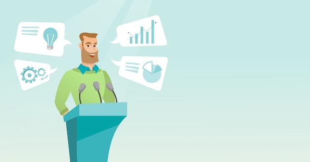 Homme d'affaires, prononçant des discours lors d'un séminaire d'entreprise. Vecteur Premium