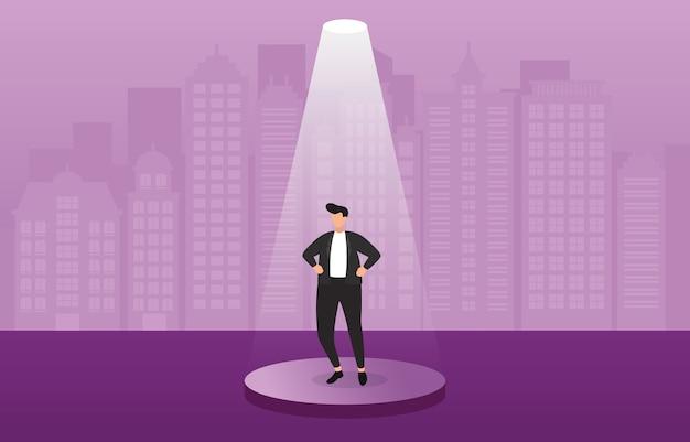 Homme d'affaires prospère confiant sur le podium sous le concept d'entreprise spotlight Vecteur Premium
