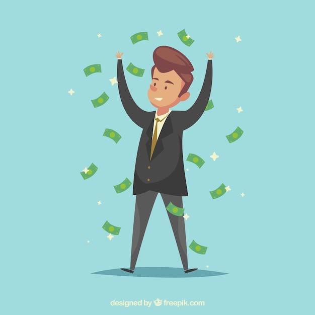 Homme d'affaires prospère avec des factures Vecteur gratuit