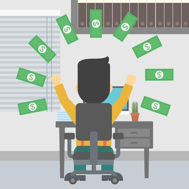 Homme d'affaires prospère sous une pluie d'argent. Vecteur Premium
