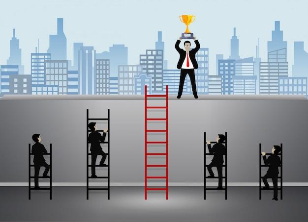 Homme d'affaires qui monte dans l'escalier va au but Vecteur Premium