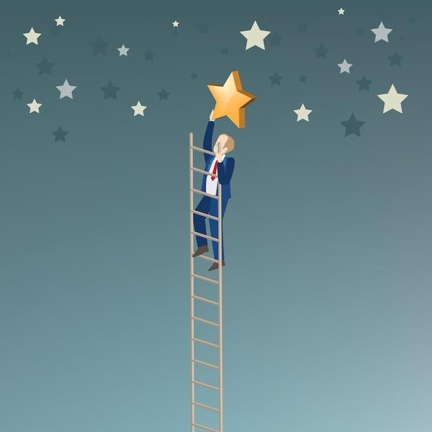 Homme d'affaires ramasser l'étoile Vecteur Premium