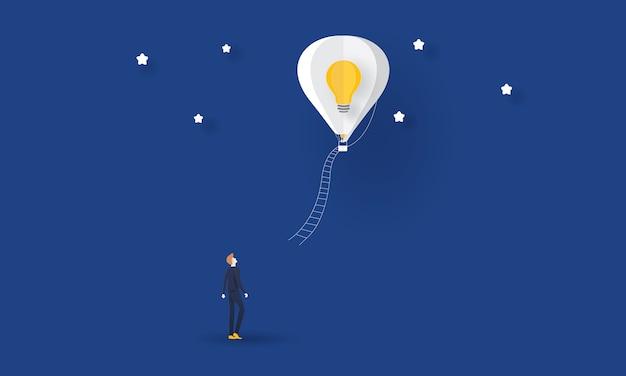 Homme D'affaires à La Recherche D'une Idée, Concept D'entreprise Vecteur Premium