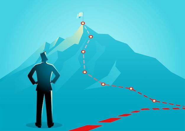Homme D'affaires à La Recherche Des Lignes Rouges Menant Au Sommet D'une Montagne Vecteur Premium