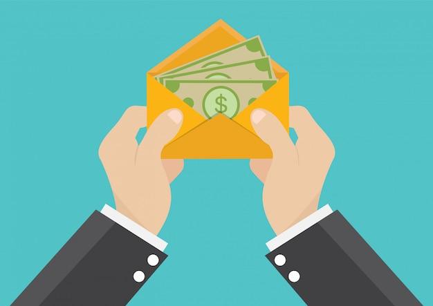 Un homme d'affaires reçoit un salaire Vecteur Premium