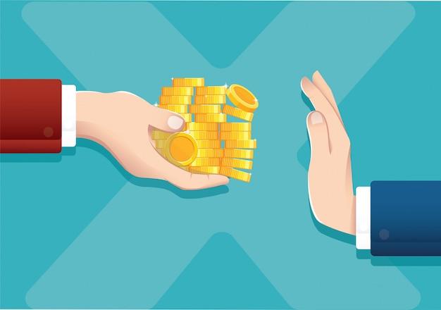 Homme D'affaires Refusant De L'argent Offert Vecteur Premium