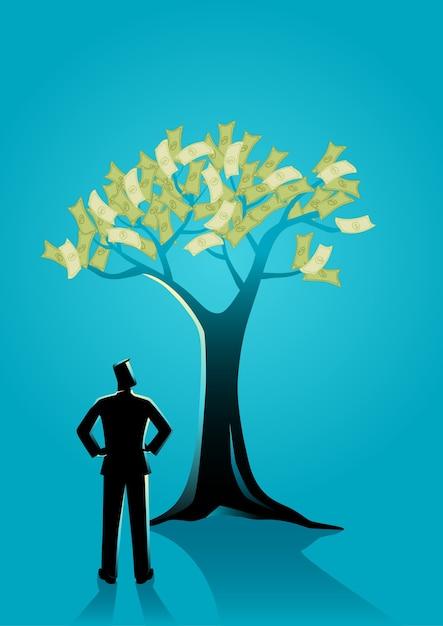 Homme D'affaires En Regardant L'arbre D'argent Vecteur Premium