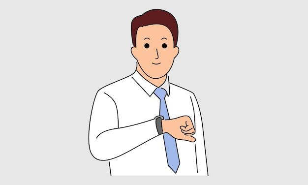 Homme D'affaires Regarde Sa Montre Pour Vérifier L'heure Vecteur Premium
