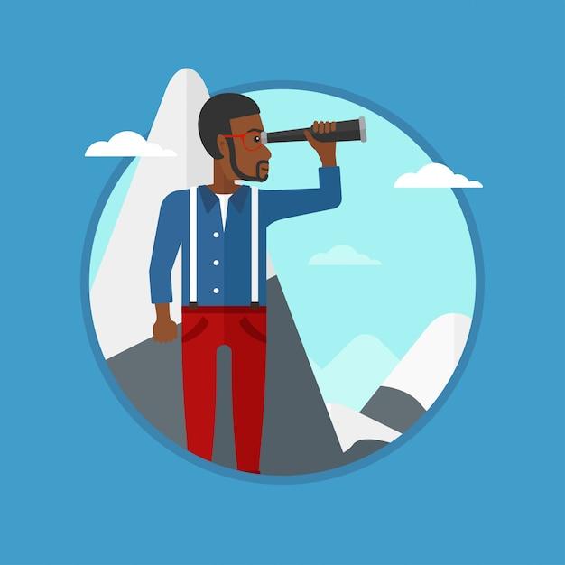 Homme affaires, regarder travers, spyglass Vecteur Premium