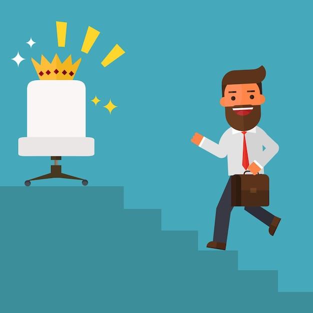 Homme d'affaires en remontant les escaliers vont à des postes de direction Vecteur Premium