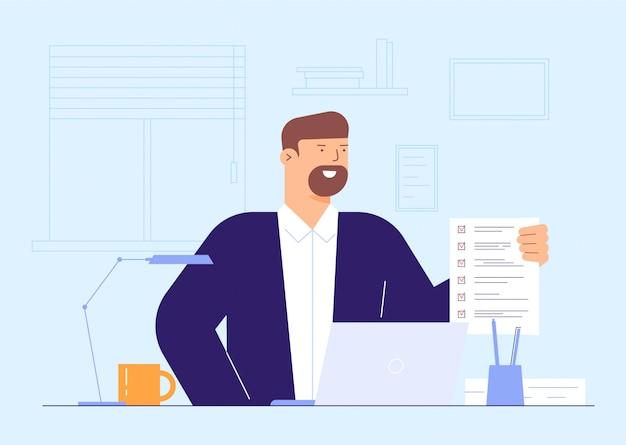 Homme D'affaires Rempli Concept Illustration De Formulaire Vecteur Premium