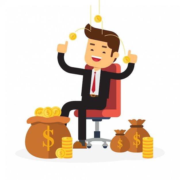 Homme d'affaires reposant sur une chaise en argent de fond Vecteur Premium