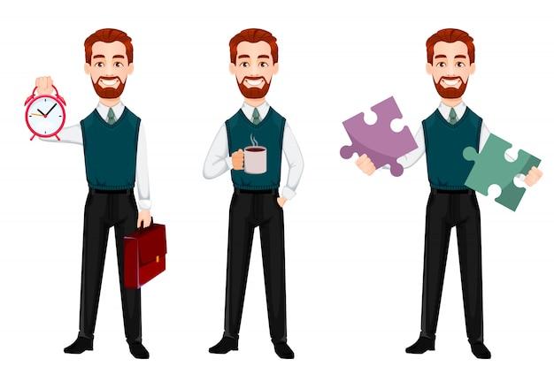 Homme d'affaires réussie, ensemble de trois poses Vecteur Premium