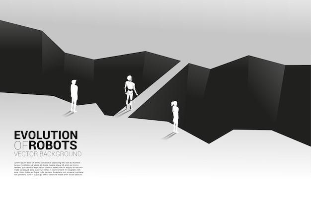 Homme D'affaires Et Robot Devant La Vallée Et Le Robot Avec Le Pont. Concept D'entreprise Pour L'apprentissage Automatique Et L'intelligence Artificielle Par Ia.human Vs Robot. Vecteur Premium