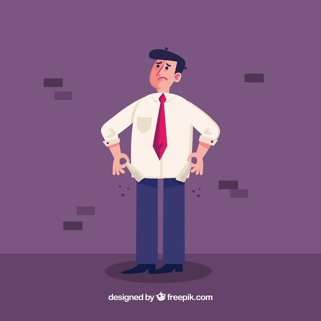 Homme d'affaires sans argent dans ses poches Vecteur gratuit