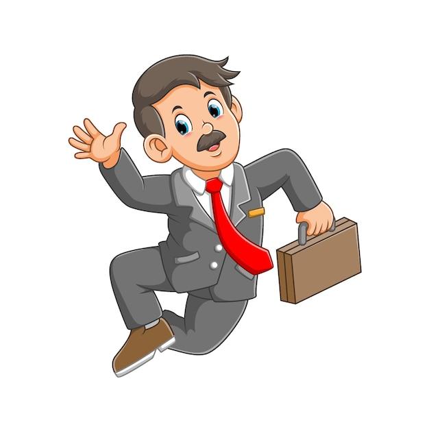 Homme Affaires, Sauter, Tenue, Valise, Illustration Vecteur Premium