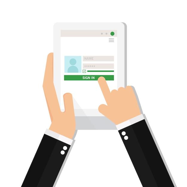 Homme d'affaires se connecter à compte sur la tablette Vecteur Premium