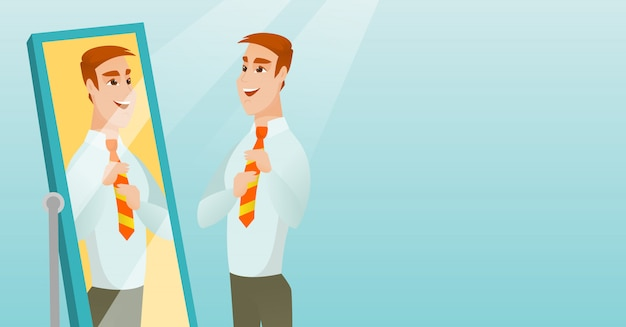 Homme d'affaires se regardant dans le miroir. Vecteur Premium