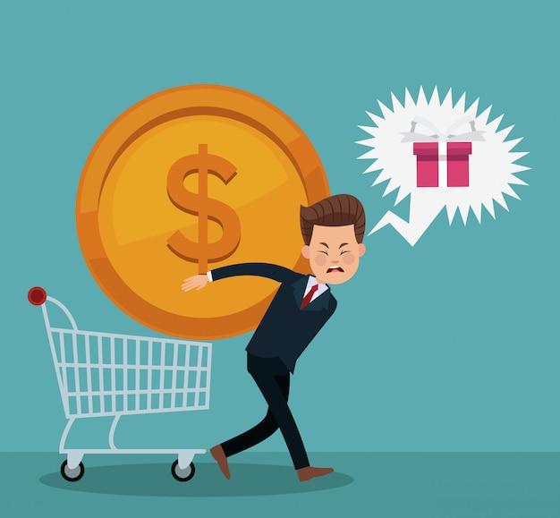 Homme d'affaires et shopping Vecteur Premium