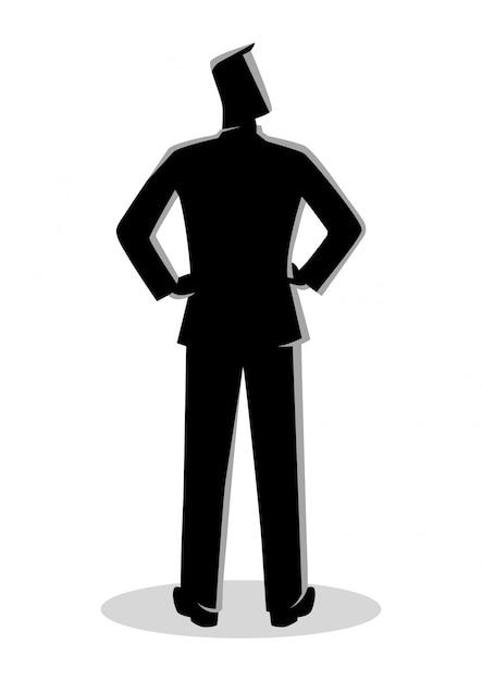 Homme affaires, silhouette, debout, vue postérieure Vecteur Premium