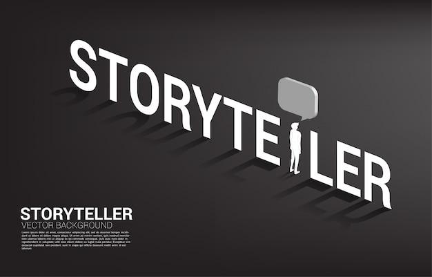Homme d'affaires de silhouette avec discours de bulle dans les mots du conteur. communication et conteur .. Vecteur Premium