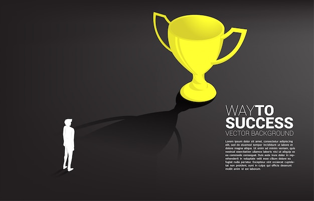 Homme D'affaires De Silhouette Vise à Remporter Le Trophée. Objectif De Direction D'entreprise Et Mission De Vision Vecteur Premium