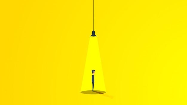 Homme D'affaires Sous La Lumière D'une Lampe Vecteur Premium