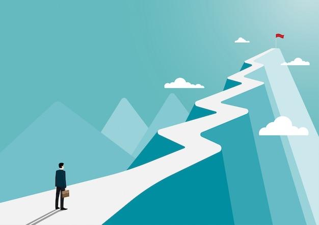 Homme Affaires, Stands, Regarder, Drapeau, Sommet, Montagne Vecteur Premium