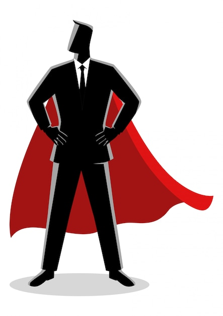 Homme d'affaires en super-héros Vecteur Premium