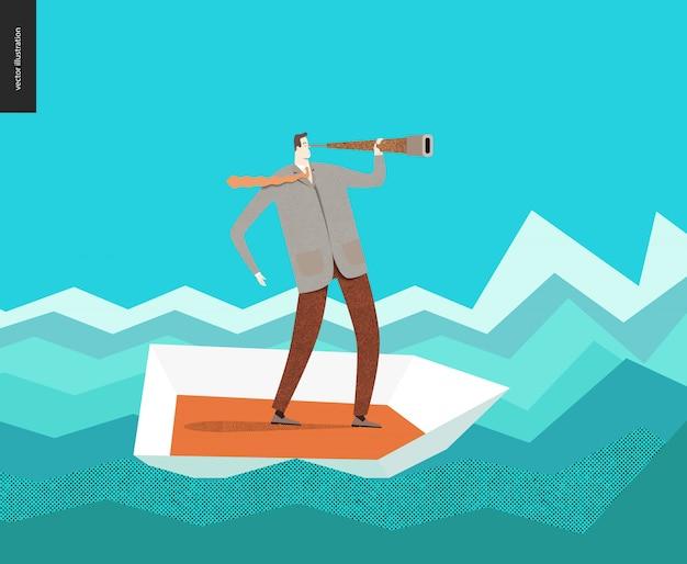 Homme d'affaires avec un télescope en bateau Vecteur Premium