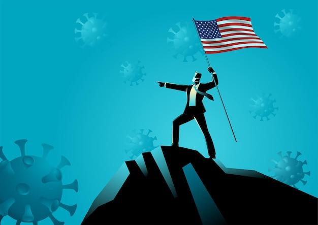 Homme D & # 39; Affaires Tenant Le Drapeau Des Etats-unis Au Sommet De La Montagne Vecteur Premium