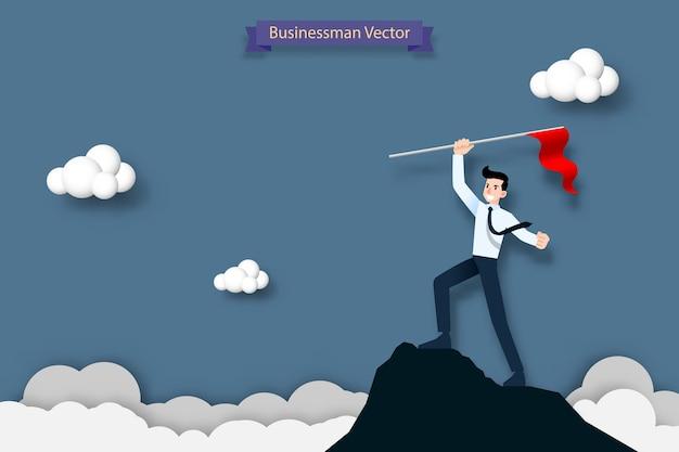 Homme d'affaires tenant un drapeau rouge au sommet de la montagne Vecteur Premium