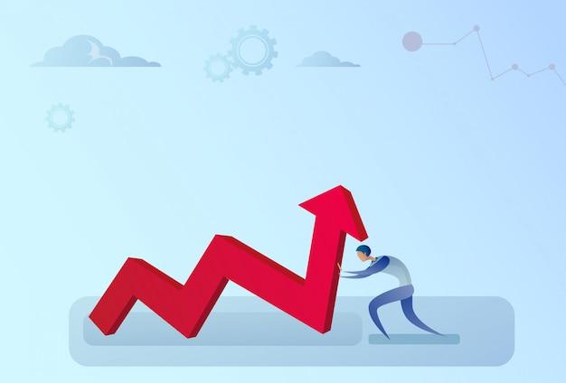 Homme d'affaires tenant la flèche financière vers le haut croissance du développement des entreprises Vecteur Premium