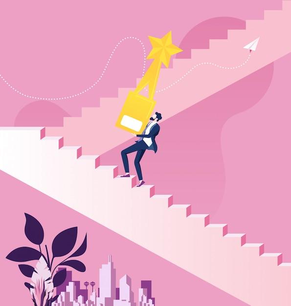 Homme d'affaires tenant le trophée d'or monter les escaliers vers le succès Vecteur Premium