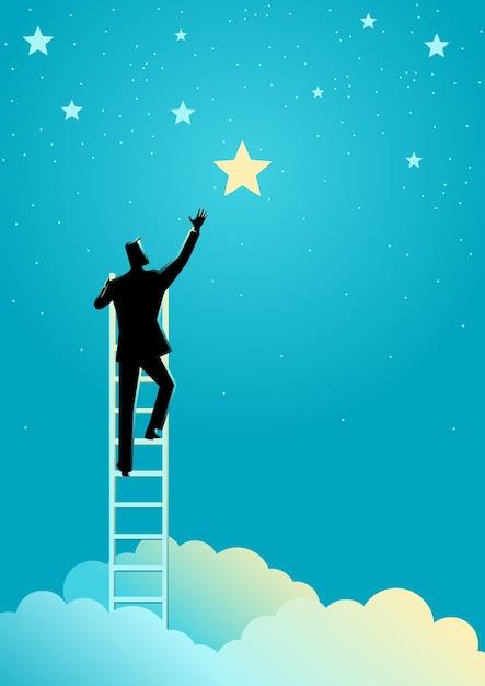 Homme d'affaires tendre la main pour les étoiles Vecteur Premium