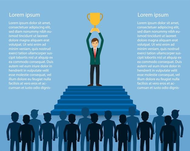 Homme affaires, tenue, coupe trophée, debout, sur, les, escalier Vecteur Premium