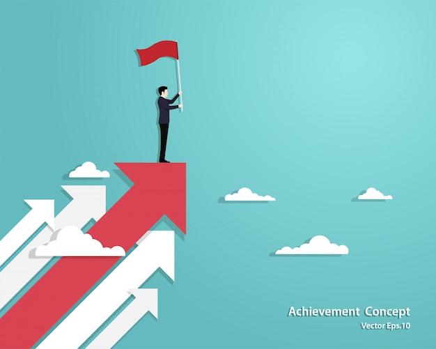 Homme affaires, tenue, drapeau, debout, sur, flèche rouge Vecteur Premium
