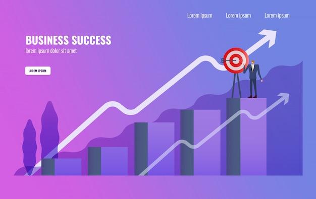 Homme d'affaires terminer la mission d'affaires en haut du graphique. Vecteur Premium