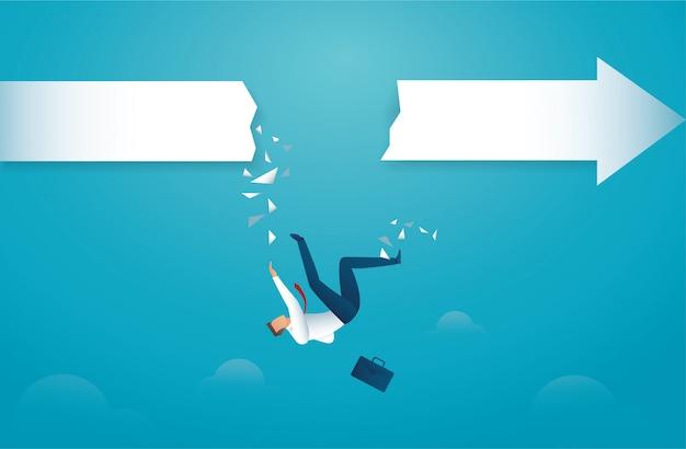 Homme d'affaires tombe de la flèche Vecteur Premium