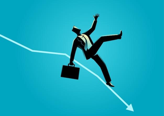 Homme d'affaires tomber sur la charte graphique décroissante Vecteur Premium