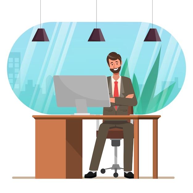 Homme D'affaires Travaillant Avec L'administration Informatique Au Bureau. Vecteur Premium