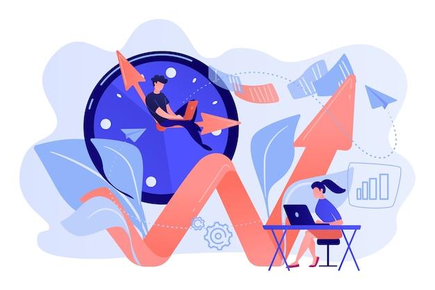 Homme D'affaires Travaillant Sur La Main De L'horloge Et Femme D'affaires Avec Ordinateur Portable. Productivité, Efficacité De La Production, Concept De Qualification Sur Fond Blanc. Vecteur gratuit