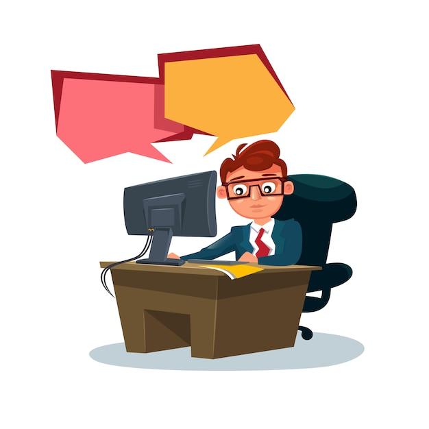 Homme d'affaires travaillant sur l'ordinateur assis au bureau sur blanc Vecteur Premium