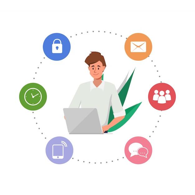 Homme d'affaires travaillant avec un ordinateur portable et infographie. Vecteur Premium