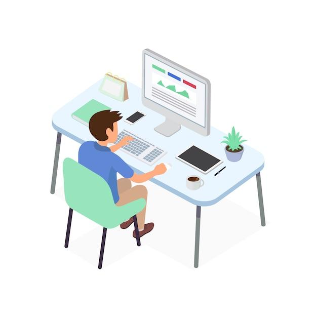 Homme d'affaires travaillant avec un projet d'idée créative pour analyser la stratégie financière de l'entreprise Vecteur Premium
